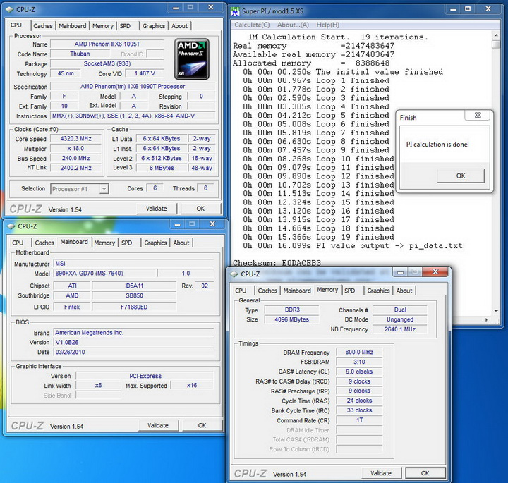 pi1 MSI 890FXA GD70 & AMD Phenom II X6 1090T