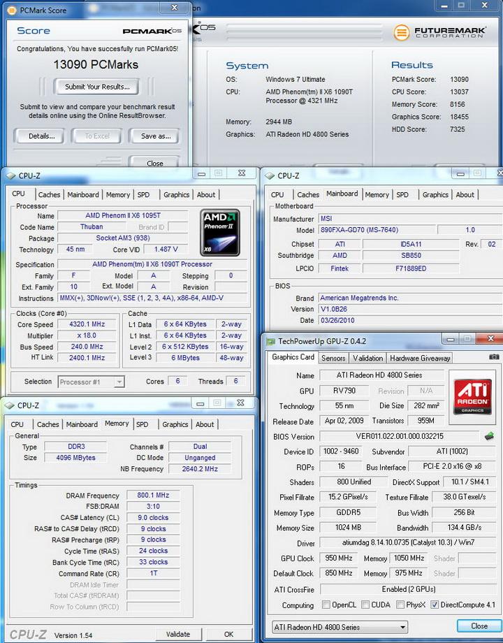 pcmark05 MSI 890FXA GD70 & AMD Phenom II X6 1090T