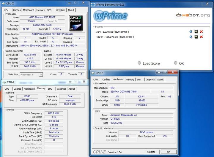 wprime MSI 890FXA GD70 & AMD Phenom II X6 1090T