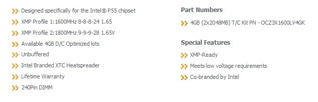 221 OCZ DDR3 PC3 12800 Intel® XMP
