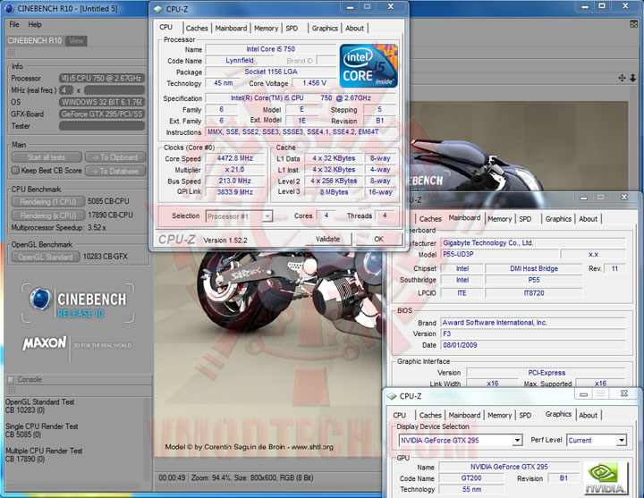cbr10 213 Intel Core i5 750 GIGABYTE P55 UD3P overclocking test
