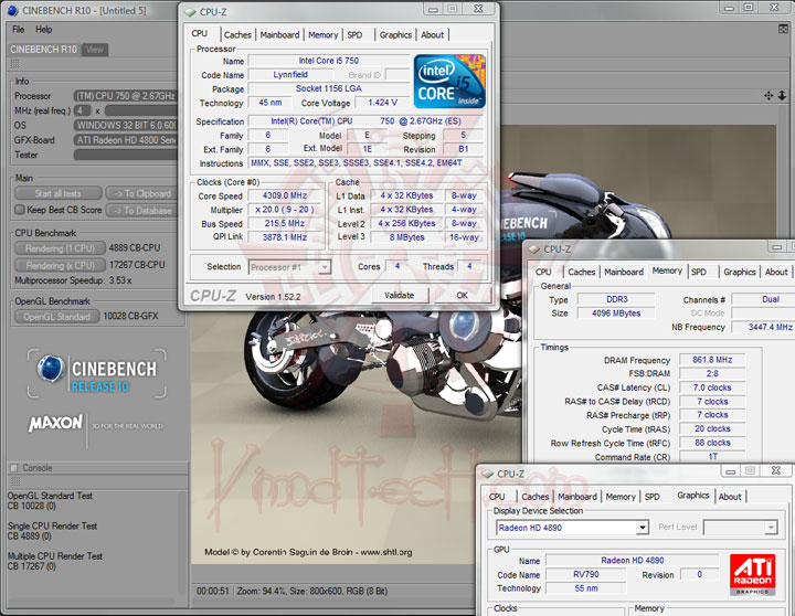 cinebenchr10 215 MSI P55 GD65   Overclock Results