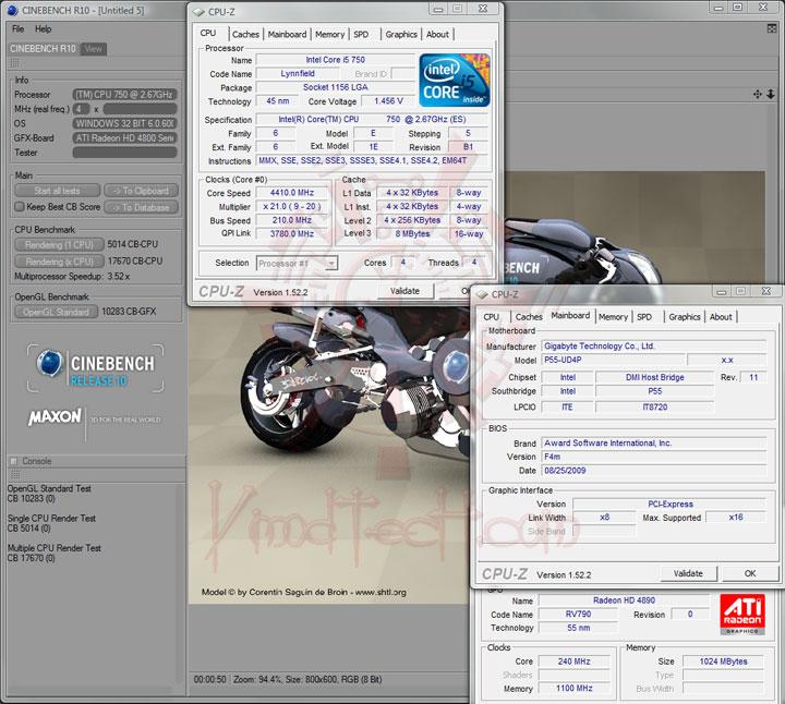 cinebenchr10 4400 ทดสอบจริง GIGABYTE P55 UD4P