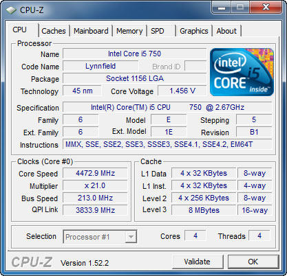 cpu01 Intel Core i5 750 GIGABYTE P55 UD3P overclocking test