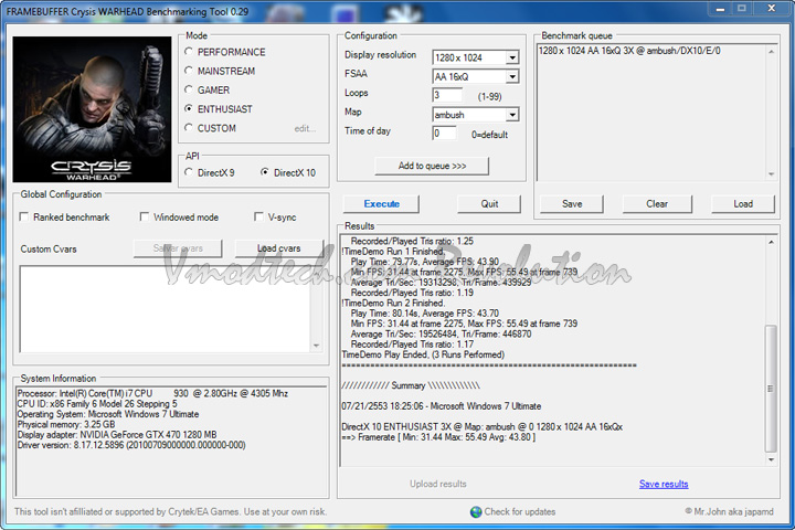 crys dx10 Palit Geforce GTX470 1280MB DDR5 Overclock Test