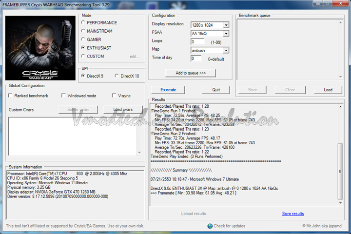 crys dx9 Palit Geforce GTX470 1280MB DDR5 Overclock Test