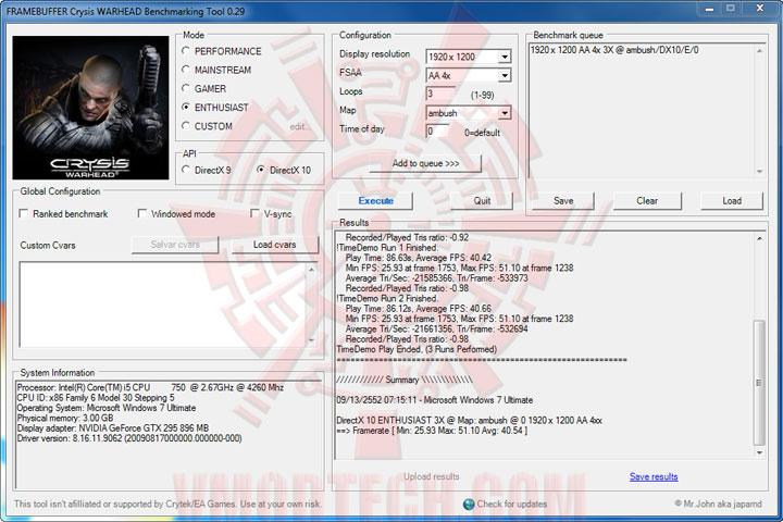 crysis1 Intel Core i5 750 GIGABYTE P55 UD3P overclocking test