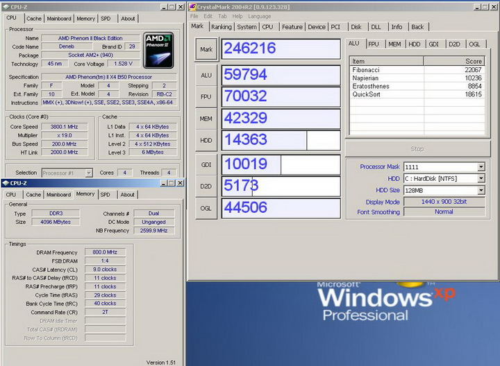 crystalmark 2004r Phenom II X2 550BE VS Asrock M3A790GXH/128M 4 Core Test..