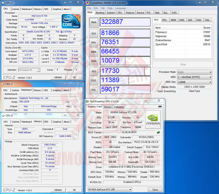 crystalmark 213 Intel Core i5 750 GIGABYTE P55 UD3P overclocking test