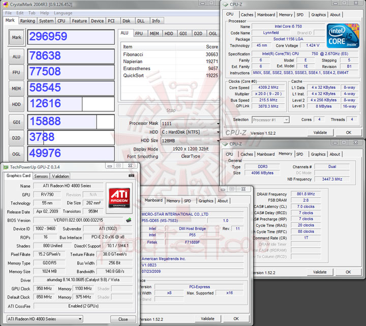 crystalmark 215 MSI P55 GD65   Overclock Results