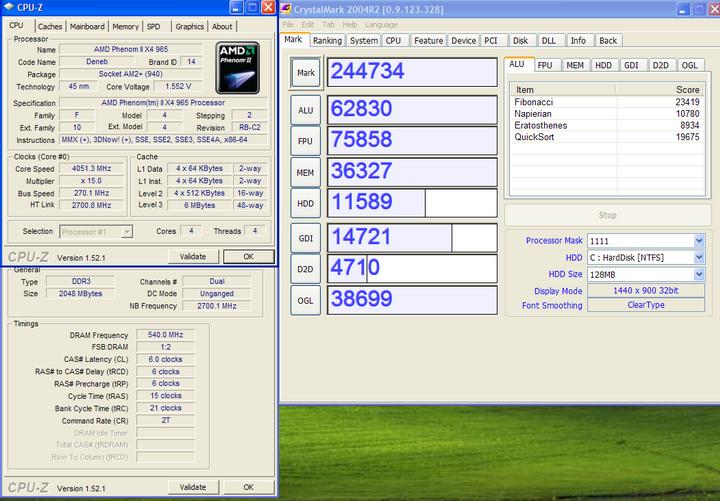 crystalmark2004 Phenom II X4 965BE @ 4 G อีกแล้ว