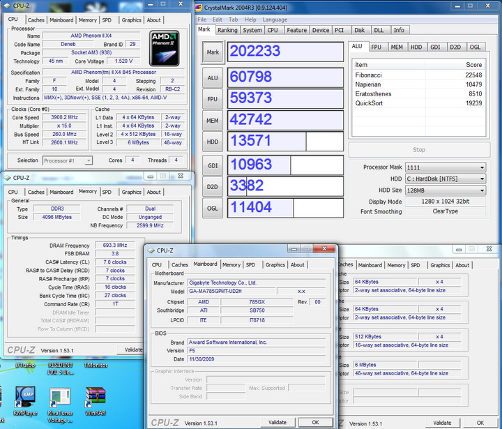 crystalmark2004r3 AMD  Phenom II 545 @ 4 Cores !!!