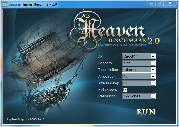 heaven setup ASUS EAH5850 DDR5 Review