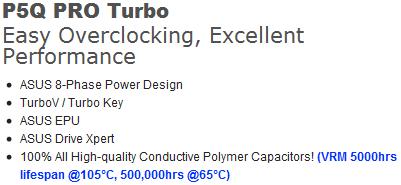 spec p5q bo ASUS P5Q PRO Turbo