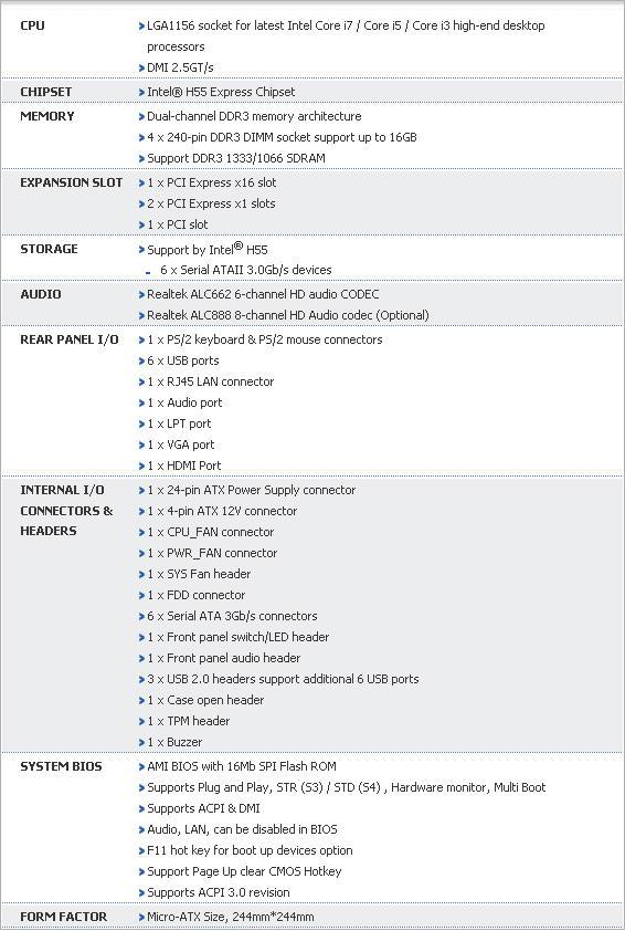 spec ECS H55H CM Motherboard Review