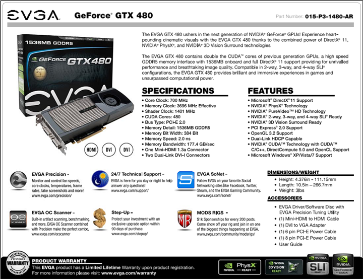spec EVGA Geforce GTX480 Review