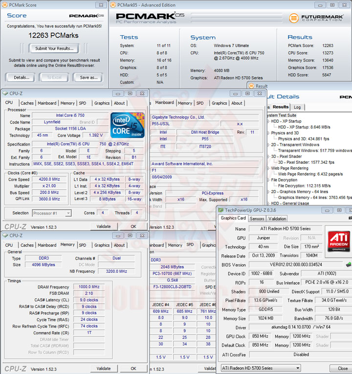pcmark05 GIGABYTE P55 US3L Review