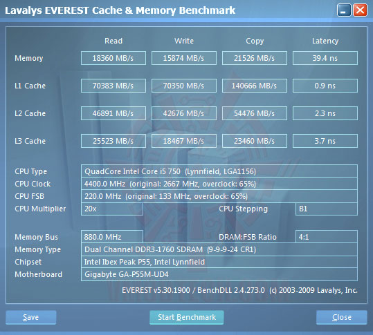 everest cachemem 220 GIGABYTE P55M UD4 Review