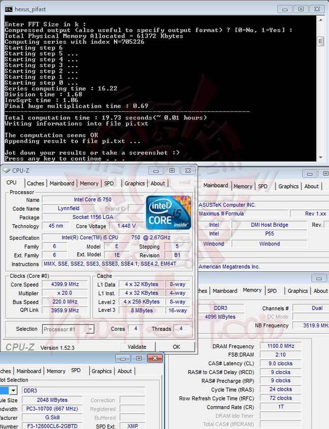 pifast 220 ASUS MAXIMUS III FORMULA Overclocking Test