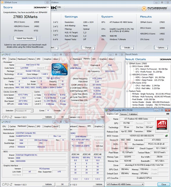 3d06 ASUS SABERTOOTH 55i Full Benchmark Review