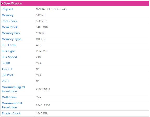 ddr5 Gigabyte GT240 DDR5 512M Ho