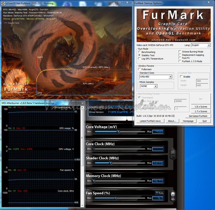 def temp Palit Geforce GTX470 1280MB DDR5 Overclock Test