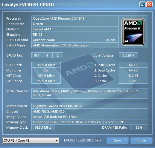 e211 AMD  Phenom II 545 @ 4 Cores !!!