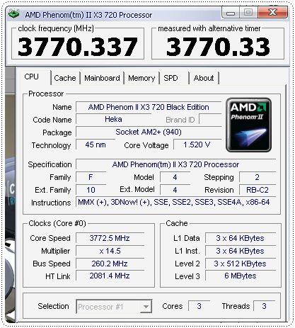 1 x3 phenomii 720be 260x145 info cpuz cpu CPU Group Test สำหรับคอเกมส์ฯ