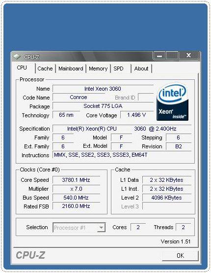 1 xeon3o6o 540x7 378ghz info cpuz cpu CPU Group Test สำหรับคอเกมส์ฯ