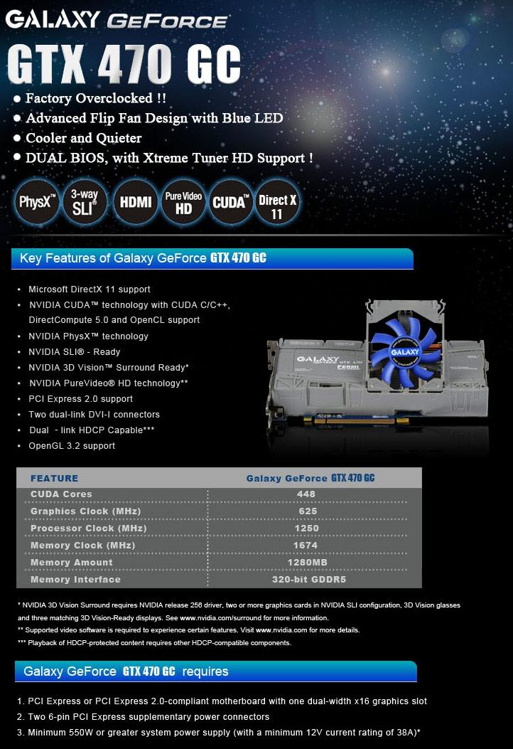 spec product GALAXY GTX470 GC Version !