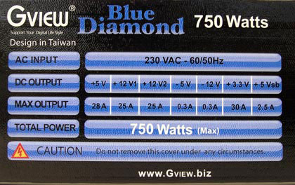 label blue diamond PSU : Gview Blue Diamond 750w