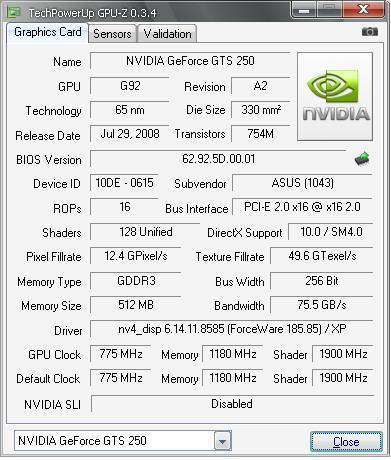 e52oo 45 18585 report gpuz1 Asus อัศวินแห่งรัตติกาล รหัส GTS250 DK 512MB DDR3