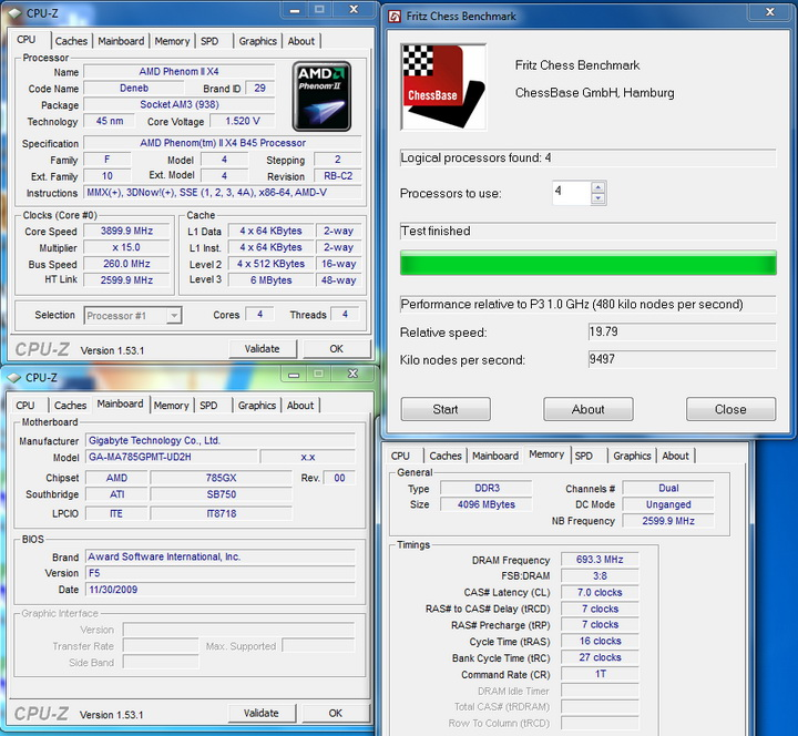 fritz chess6 AMD  Phenom II 545 @ 4 Cores !!!