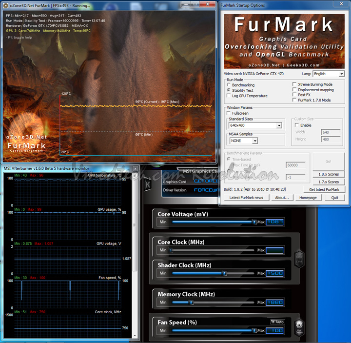 full Palit Geforce GTX470 1280MB DDR5 Overclock Test