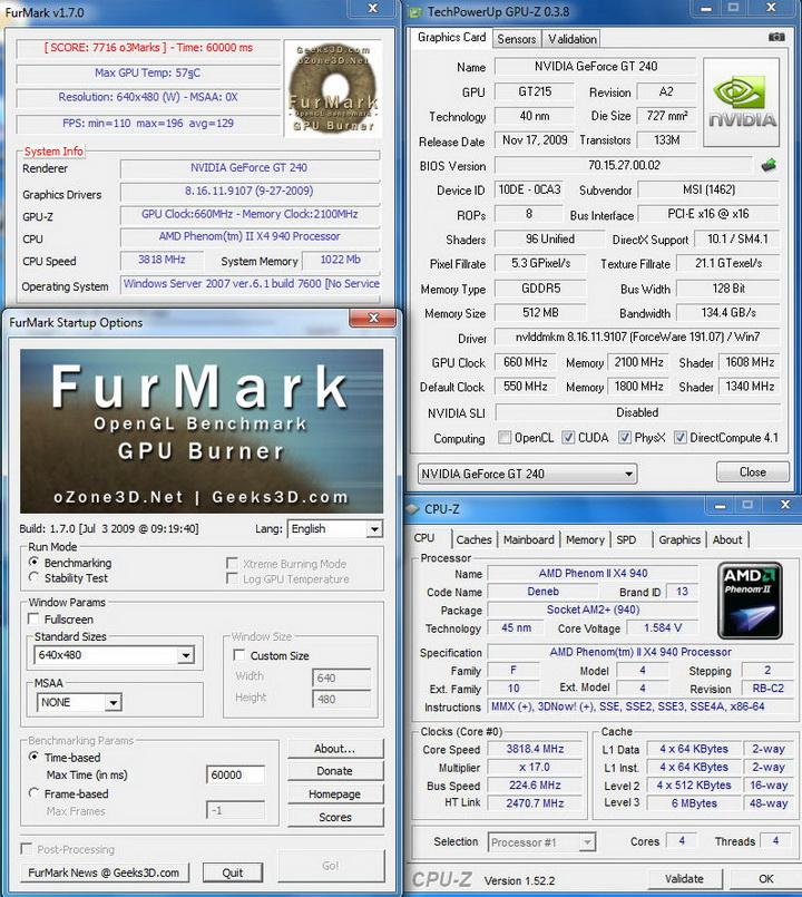 furmark11 MSI N240GT OC Edition
