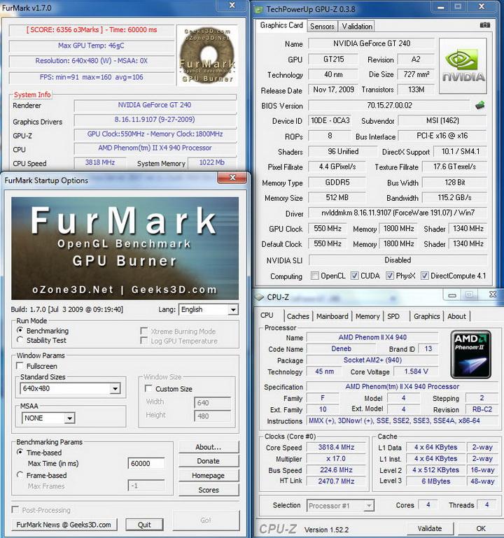 furmark2 MSI N240GT OC Edition