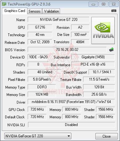 gt220 gpuz GIGABYTE GT220 1GB DDR3 Review