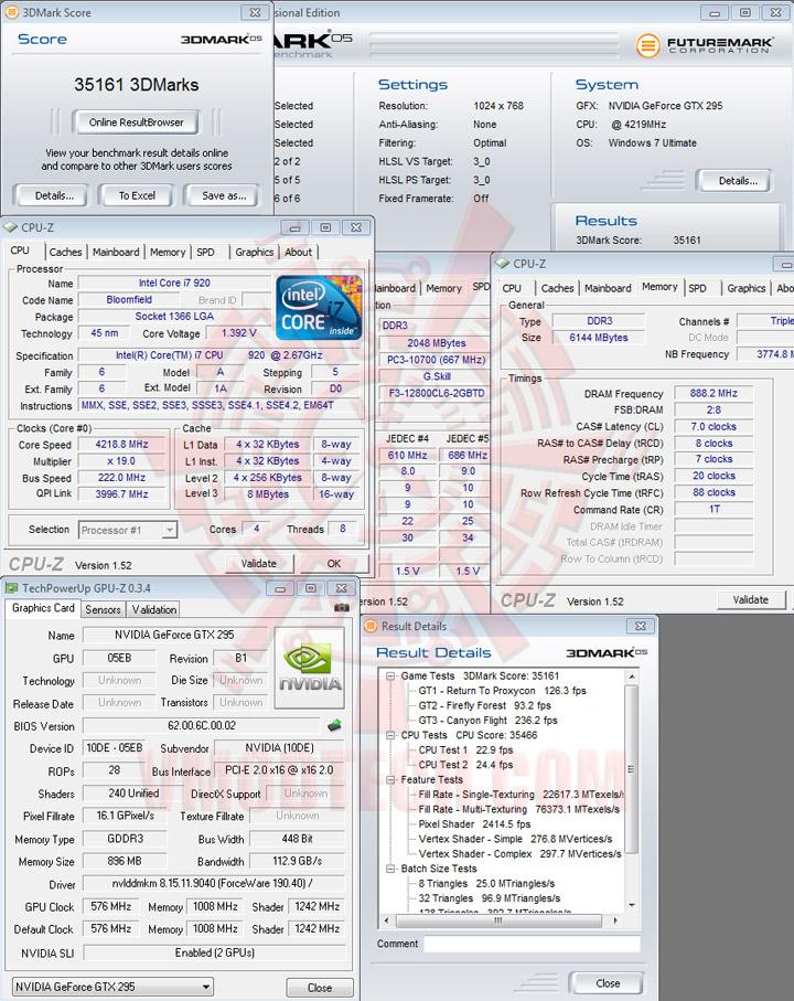 gtx295 3dmark05 def EVGA GEFORCE GTX295 SinglePCB CO OP Edition