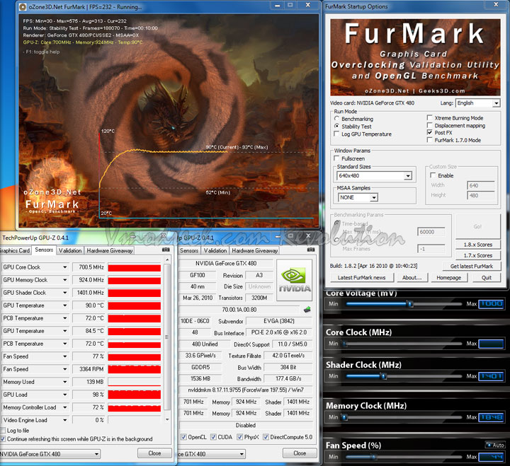 gtx480 furmark default EVGA Geforce GTX480 Review