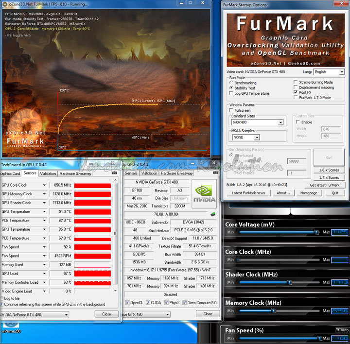 gtx480 furmark ocmax 100 EVGA Geforce GTX480 Review