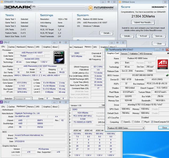 1000mhz 11001 ASUS EAH6850 DirectCU 1GB DDR5