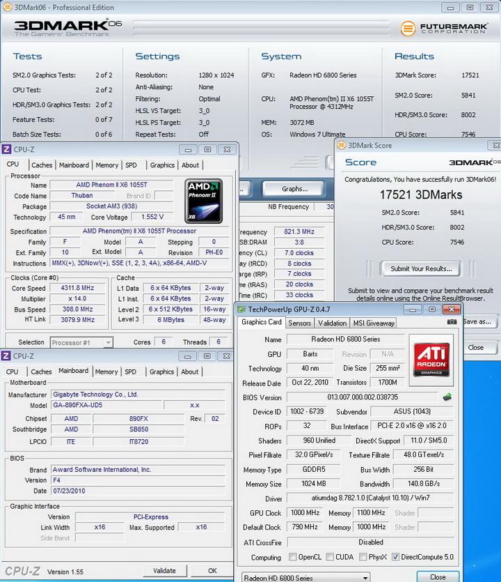 1000mhz 11004 ASUS EAH6850 DirectCU 1GB DDR5
