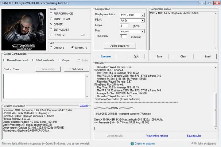 crysis2 ASUS EAH6850 DirectCU 1GB DDR5