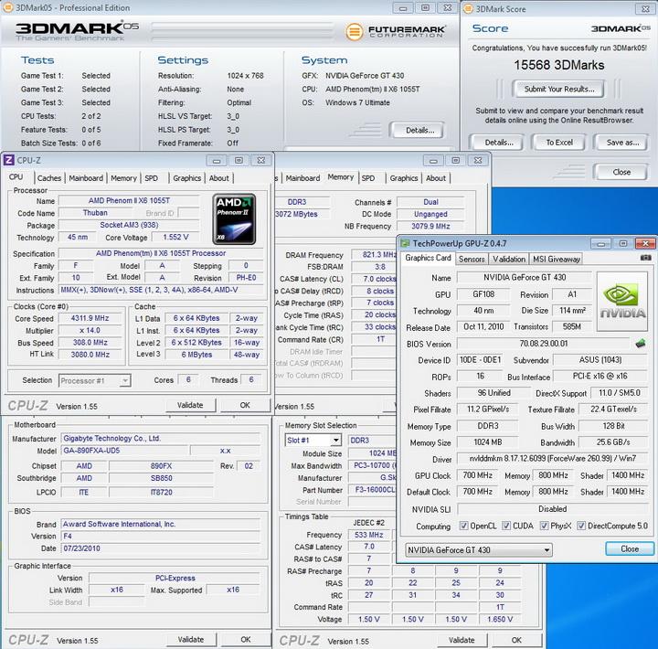 default ASUS ENGT430 1GB DDR3