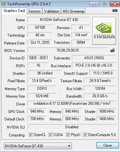 gpu z 840 1680 840 ASUS ENGT430 1GB DDR3
