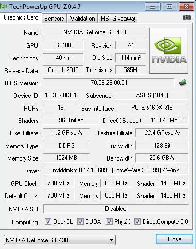 gpu z default ASUS ENGT430 1GB DDR3