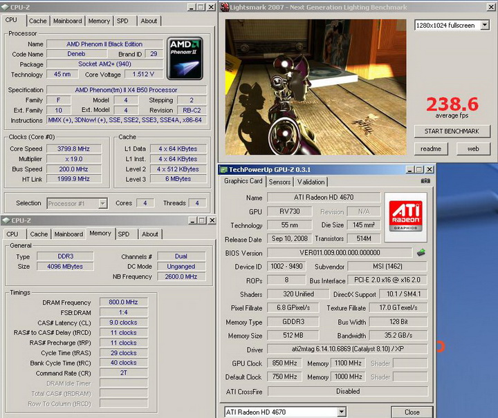lightsmark 2007r Phenom II X2 550BE VS Asrock M3A790GXH/128M 4 Core Test..