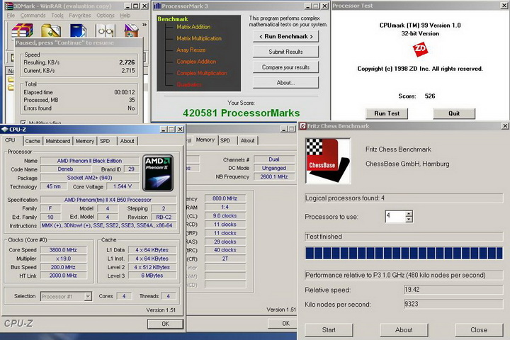 mixr1 Phenom II X2 550BE VS Asrock M3A790GXH/128M 4 Core Test..