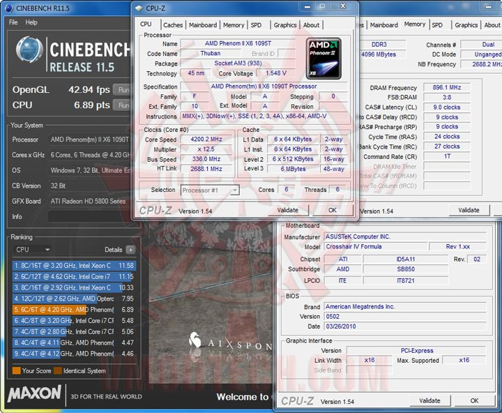 c115 1 4200 AMD Phenom II X6 1090T Black Edition Overclock Results