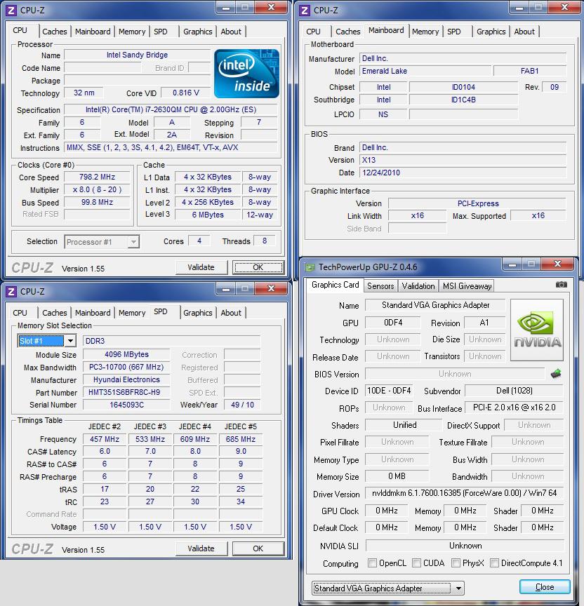 cpuz Review : Dell XPS L502X